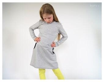 grey girls dress with black dots,kids dress,girls tunic,toddler beachwear,toddler loungewear,toddler dress dotted