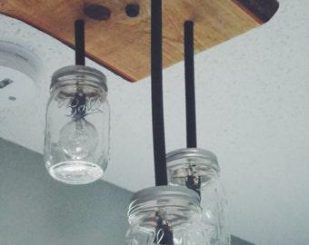 Mason Jar Light with Cypress Base
