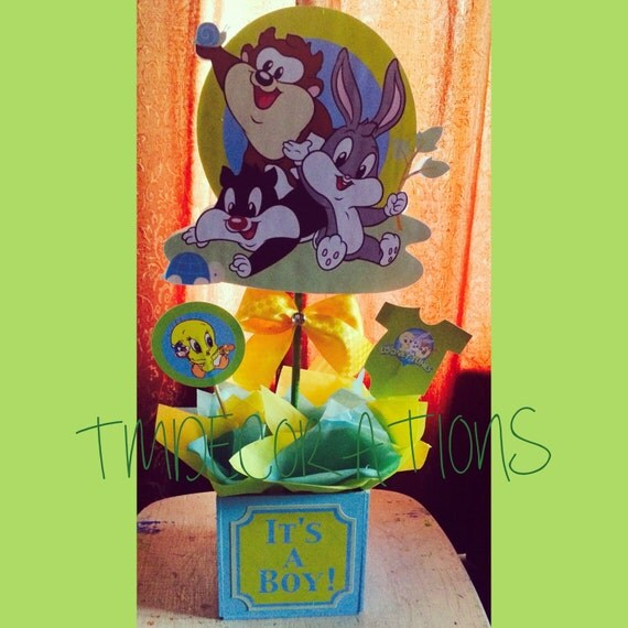 baby looney tunes baby shower centerpieces