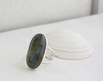 Labradorite Double Band Ring, Silver Ring, Gemstone Statement Ring