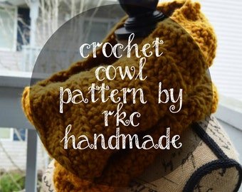DIGITAL FILE Crochet Chunky Cowl PATTERN only, instant download RKChandmade