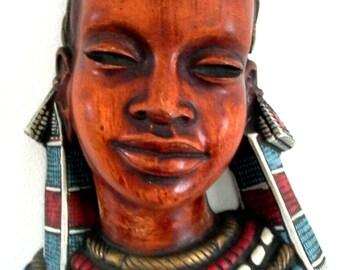 Achatit, 1960's West German Wall Mask 'Masai'
