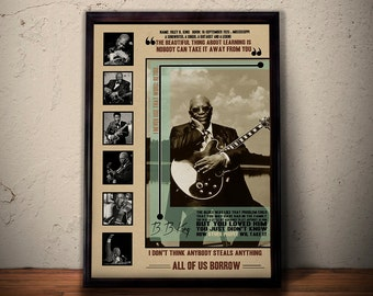 BB KING Quote Lyrics Art Print Poster * Blues Legend Music Retro Vintage Wall Decortation * A1 A2 A3 A4 Sizes Available