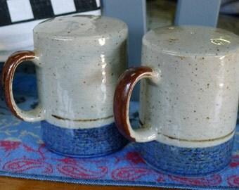 Glazed stoneware handpainted salt pepper shaker set