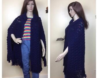 Vintage  Hippie cape , crochet navyKnit Poncho 70s Boho Fringed Navy Cape