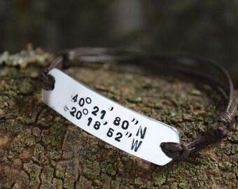 Coordinates Bracelet | Custom Coordinates | Anniversary Gifts For Boyfriend | Best Friend Gift | Couples Bracelets | Boyfriend Gift