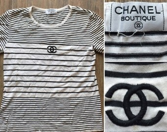Chanel authentic cc logos camellias stretchy white short for Authentic chanel logo t shirt