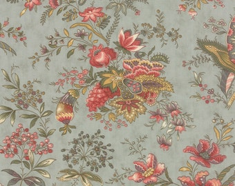 Moda Hyde Park Pond Blue Large Floral Fabric 2760-13 BTY 1 Yd