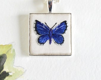 Hand Embroidered Holly Blue Butterfly Pendant
