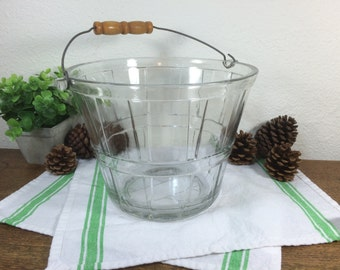 Clear Glass Anchor Hocking Bucket *FREE SHIPPING* Glass Ice Bucket Pail