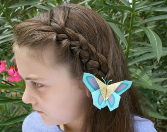 Butterfly Garden--Turquoise, Aqua, Purple, and Gold Origami Butterfly Hair Clip