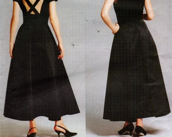 Vogue Lagerfeld Sewing Pattern 1932 Misses' Dress Flared Skirt Back Straps Paris Original 1997 Size 6-8-10