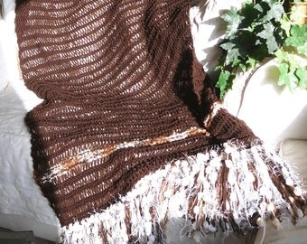 Blanket.Hand knit blanket.Throw.Hand knit Throw. Fringe Throw
