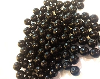 Czech Preciosa Glass Druk Beads, Black 8mm