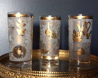 Vintage Glassware, Vintage Juice Glasses, Gold and Frosted Colony Glasses, Americana, Retro Glassware