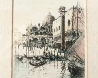 Vintage Print of Italy, Hand Colored, Plate Print, Venezia, Venice, Small Artwork, Artist Signed
