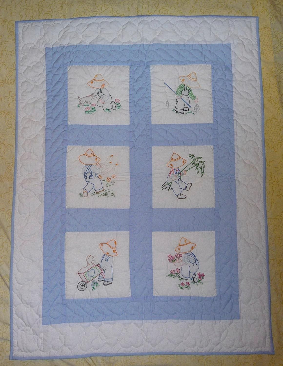 Hand Quilting Patterns For Baby Quilts : Amish Baby Quilt Overall Sam Hand Quilted Hand