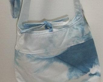 Shibori - indigo dye - hand dyed fabric - crossover purse made by me with indigo shibori fabric dyed by me
