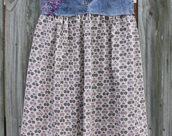 Girl's upcycled jean maxi skirt