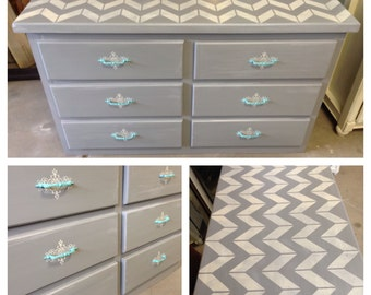 Chevron Collection- bedroom furniture, painted furniture, refinished furniture, Denver and Colorado Springs, dresser, nursery, gray, gold
