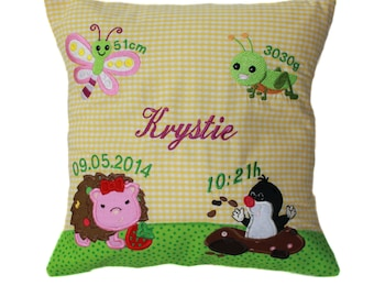 Pillow with request name and born data (DK17)
