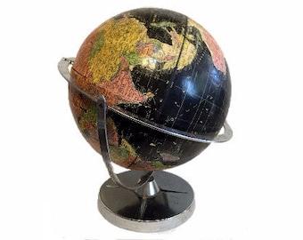 "1960s Black Globe, Vintage, Double Axis, 360 Degree, Encyclopedia Britanica Repogle 12"" Globe, Vintage Map"