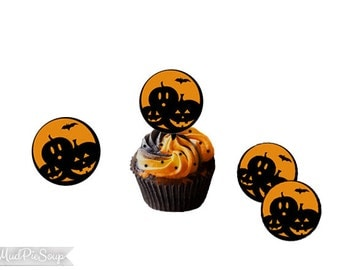 Printable Halloween Pumpkin Cupcake Toppers or Use for Tags or Stickers - Halloween Cupcakes / Instant Download
