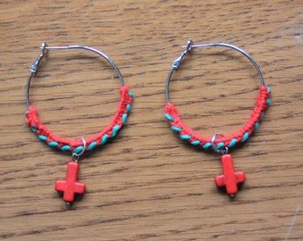 Crocheted earrings with red crosses