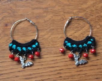 Crochet earrings with bat