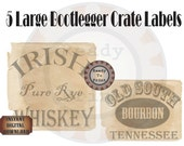 Booze Crate Labels 5 Bootleg Printable Prohibition Speakeasy Gatsby Party Roaring 20s Wedding Sign Rye Whiskey Bourbon Gin Ale Home Brew