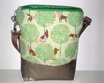 Canvastasche bag cotton leatherette beige bronze width above 34 cm, height 35 cm, depth 10 cm