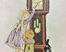 "Vintage Holly Hobbie Crewel Kit - Bucilla Creative Needlecraft - ""Grandfathers Clock"" Picture or Wall Panel - Bucilla Kit  No. 2171 - New"