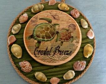 Sea turtle wall decor with seashells_beach home decor_wall hangings