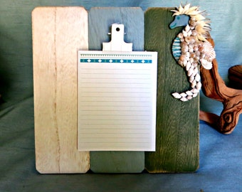 Beach memo note board with shelled seahorse_free standing note board with seahorse_beach decor