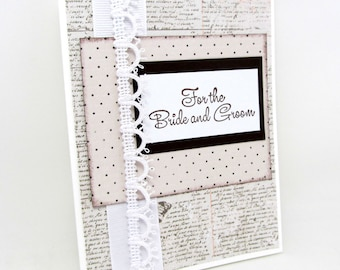 For the Bride and Groom - Wedding Card - Wedding Shower Card - Brown and White - Vintage Style - Simple and Elegant - Blank Card