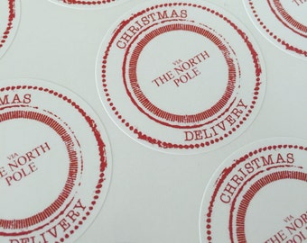 Christmas Delivery 'Via the North Pole' Circle Stamp Stickers 37mm