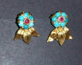 Vintage 18k gold, turquoise and Ruby clip earrings
