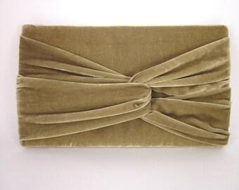 Green Velvet Clutch Purse with Asymmetrical Twist Detail