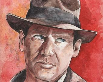Indiana Jones watercolor print