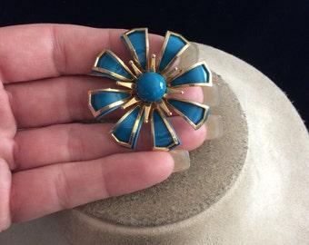 Vintage Blue Enameled Floral Pin
