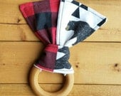 NEW: Infant Teething Ring- Bear and Buffalo Plaid