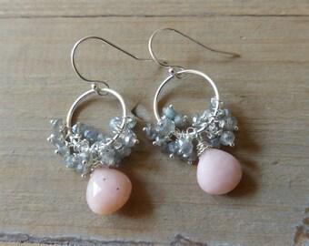 Fiery Labradorite Fringe with Pale Ballet Pink Opal Drop Chandelier Sterling Earrings