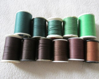 Vintage Browns & Greens Spools of Thread