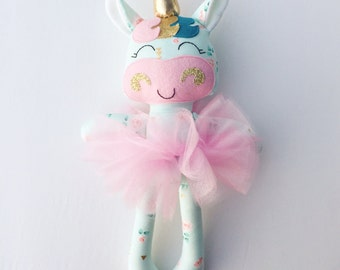 Unicorn doll - fabric doll  - handmade doll - rag doll - girls room decor - girls toy - baby gift - cloth doll - unicorn - plush - nursery