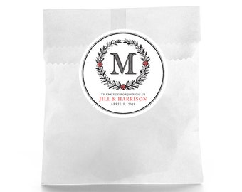 Monogram Wedding Favor Stickers - Personalized Wedding Favor Labels - Wedding Favor Labels - Welcome Bag Labels - Candy Buffet Labels