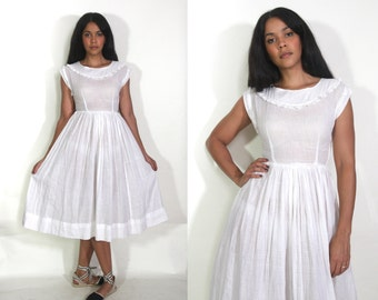 Vintage 50s Sheer White Cotton Swiss Dot High Waist Midi Dress Full Swing Skirt Bombshell Glam Wedding