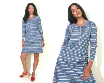 Vintage 70s Blue Sweater Knit Space Dye Stripe Long Sleeve Aline Mini Dress