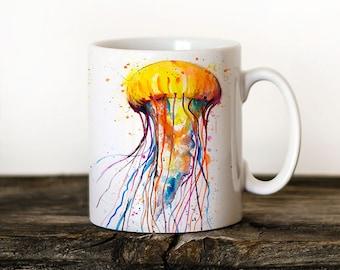 Jellyfish Mug Watercolor Ceramic Mug Unique Gift Coffee Mug Animal Mug Tea Cup Art Illustration Cool Kitchen Art Printed mug