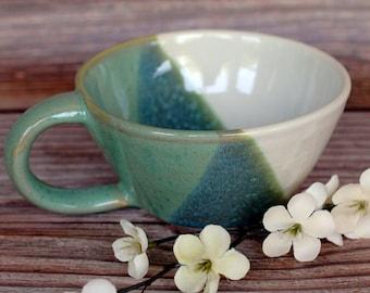 Handmade Pottery Mug - Ceramic Coffee Mug - Cappuccino Cup - Rustic Farmhouse Mug - Ceramics and Pottery - READY TO SHIP