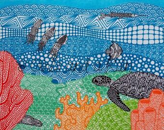 Underwater Zentangle , 11x14 print